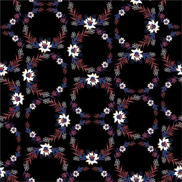 黒の背景パターンの葉と白い花 Premiumベクター