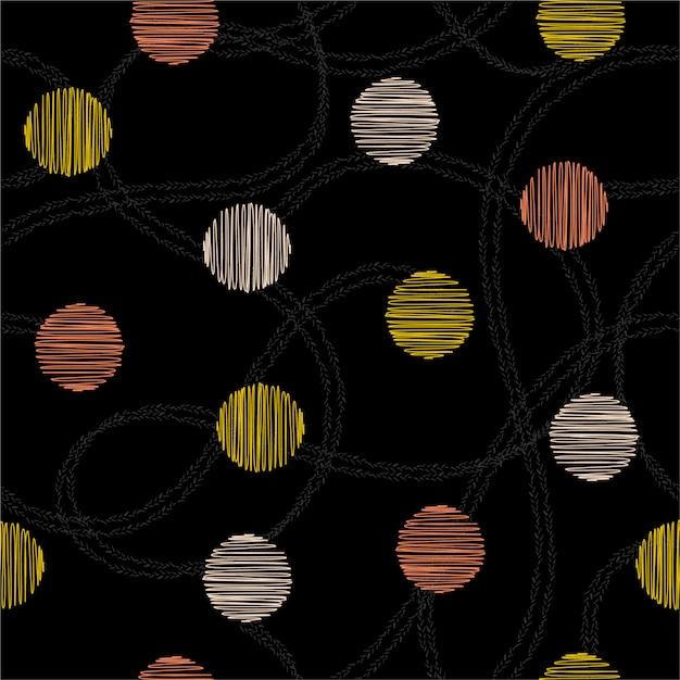 美しい手描きの円と水玉の手で描かれた二重線ランダムシームレスパターンベクトル。ファッション、ファブリック、ウェブ、すべてのプリントのデザイン Premiumベクター