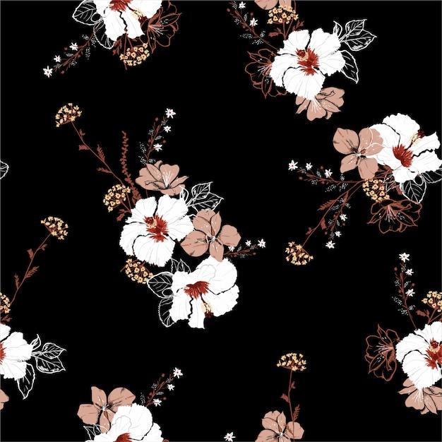 大きな咲くハイビスカスの花と植物の手描きスタイルのシームレスパターン Premiumベクター