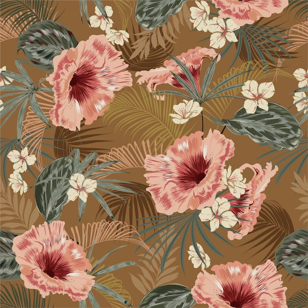 ヤシの木の熱帯ヴィンテージ気分の葉の美しいレトロなシームレスパターン壁紙 Premiumベクター