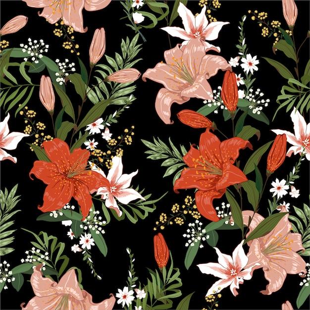シームレスな暗いブーリングユリと熱帯の花のシームレスパターン Premiumベクター