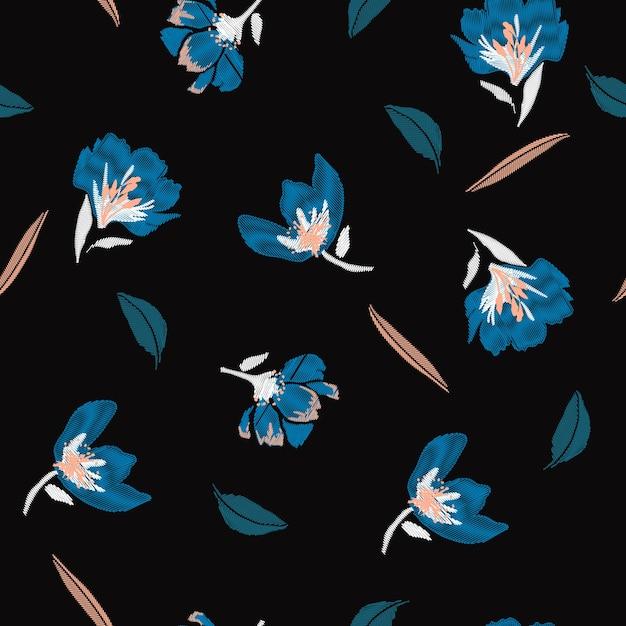 暗い夜の花刺繍の花 Premiumベクター