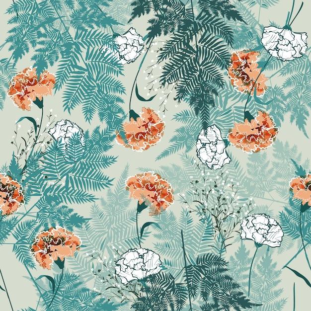 花のシームレスなパターン Premiumベクター