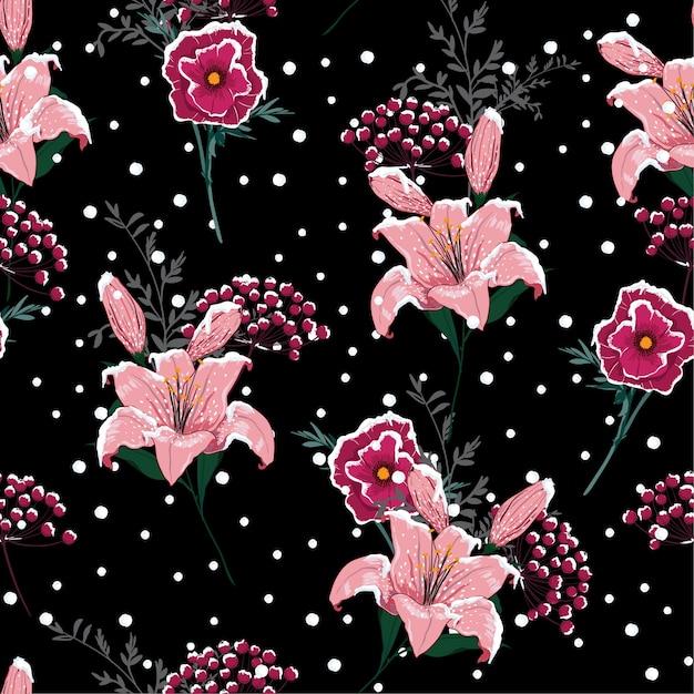 夜の雪の咲くユリの花、シームレスなパターンのベクトル Premiumベクター