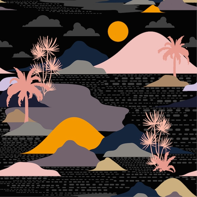 島、シームレスパターンベクトルの暗い夜のシルエット Premiumベクター