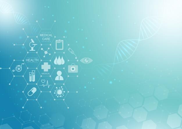 抽象的な青い明るい背景。ヘルスケアアイコンパターン医療革新の概念。 Premiumベクター