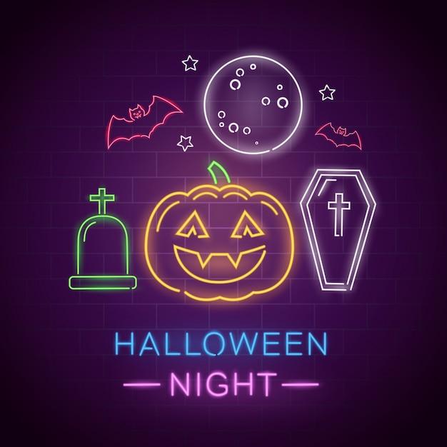 Ночь хэллоуина неоновая вывеска Premium векторы