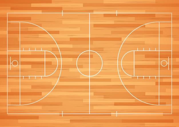 Баскетбольная площадка напольная с линией. Premium векторы