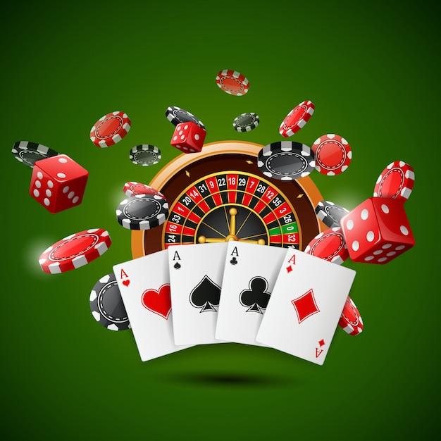 チップポーカー、トランプ、輝く緑の赤いサイコロのカジノルーレットホイール。 Premiumベクター