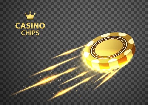 Золото казино покер фишки, летит на изолированных прозрачный черный. Premium векторы