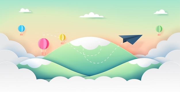 Бумажный самолетик и баллоны летать на красивое небо. Premium векторы