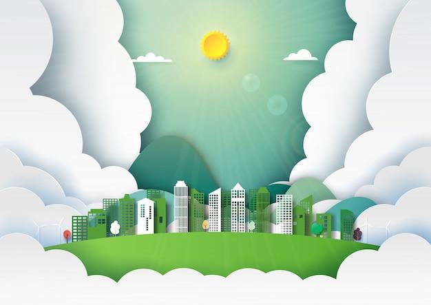 自然風景の紙アート Premiumベクター