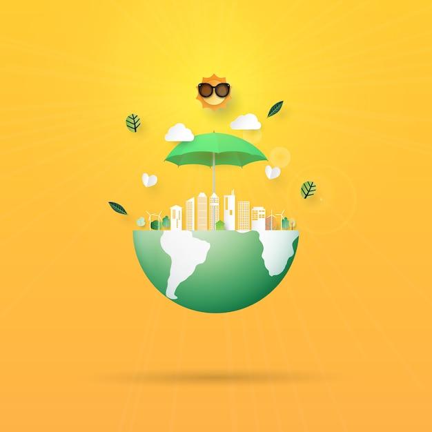 地球温暖化を止め、地球のコンセプトペーパーアートスタイルを保存 Premiumベクター