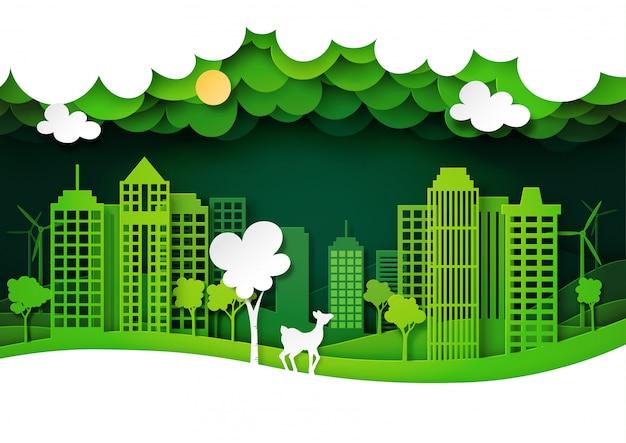 自然の風景と緑のエコ都市と鹿の野生動物、レイヤーペーパーアートスタイル。 Premiumベクター