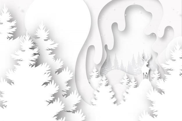 ホワイトペーパー層背景テンプレートベクトル図に野生の鹿。 Premiumベクター