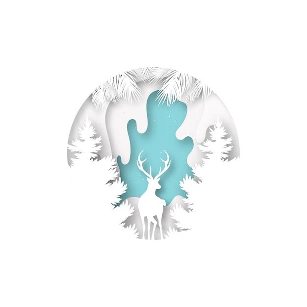 鹿と冬の季節の風景とメリークリスマスのコンセプトのペーパーアート。 Premiumベクター