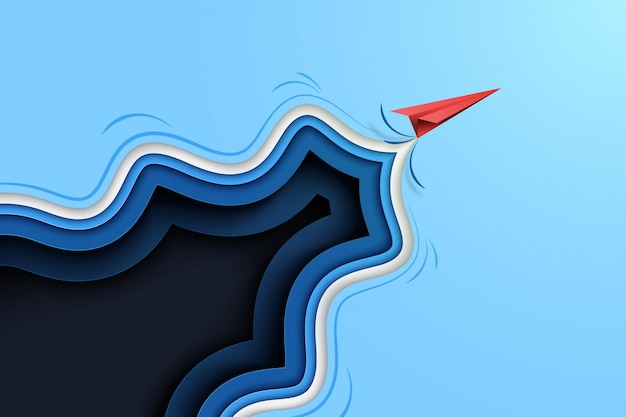 青い抽象紙から飛んでいる赤い紙飛行機は、背景をカットしました。 Premiumベクター