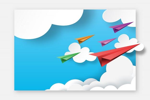 Бумажные самолеты летать на фоне макета шаблона страницы посадки голубое небо. Premium векторы