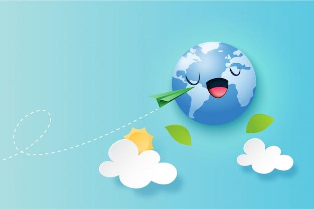 Зеленая концепция путешествия по всему миру фон Premium векторы