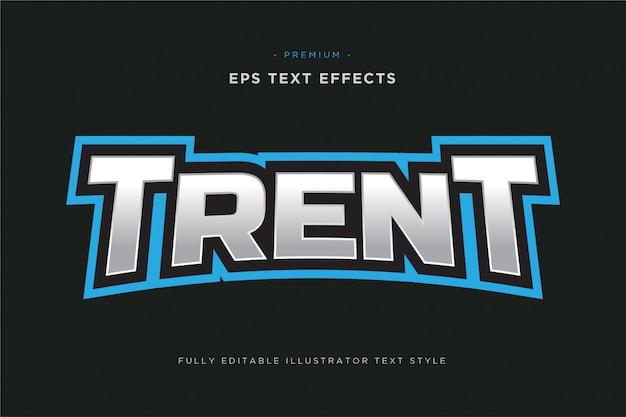 Текстовый спортивный эффект трент-талисмана - редактируемый спортивный векторный стиль текста Premium векторы