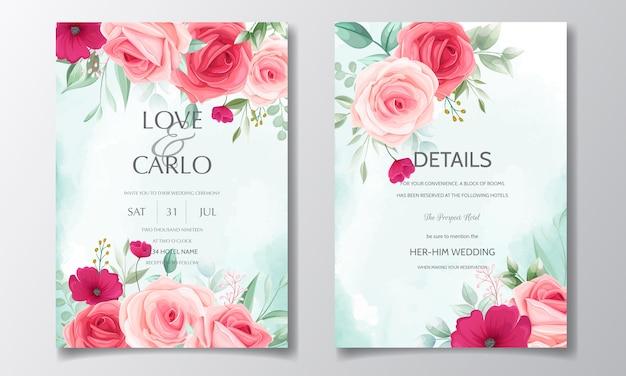 美しい花の花輪結婚式招待状カードのテンプレート Premiumベクター