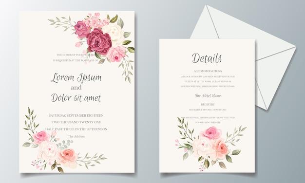 花のフレームで設定された美しく、エレガントな結婚式の招待カードテンプレート Premiumベクター