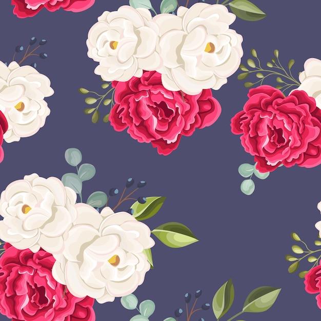 美しいシームレスパターンの花と葉 Premiumベクター
