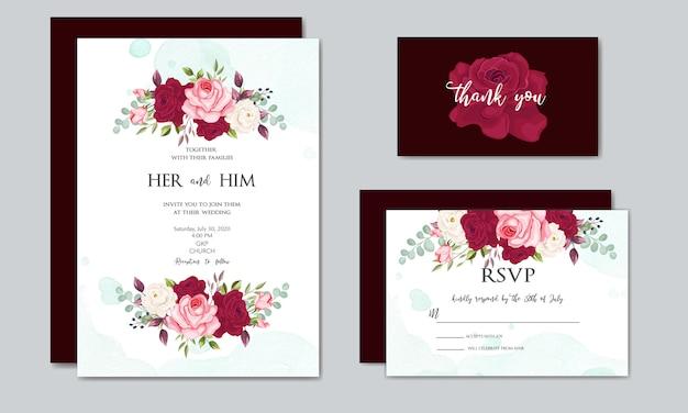 Красивый шаблон свадебного приглашения с цветочными листьями Premium векторы
