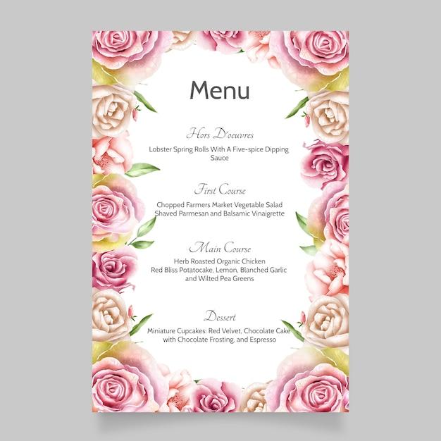 花葉を持つ美しい結婚式の招待カードテンプレート Premiumベクター