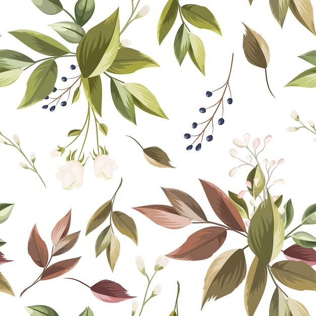 美しい花と葉のシームレスパターン Premiumベクター