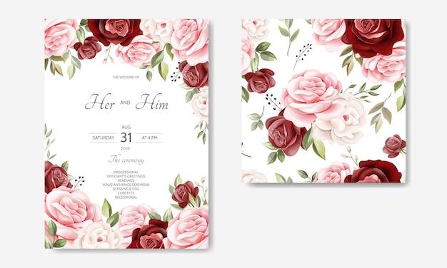 Свадебные приглашения шаблон с красивыми цветочными листьями Premium векторы