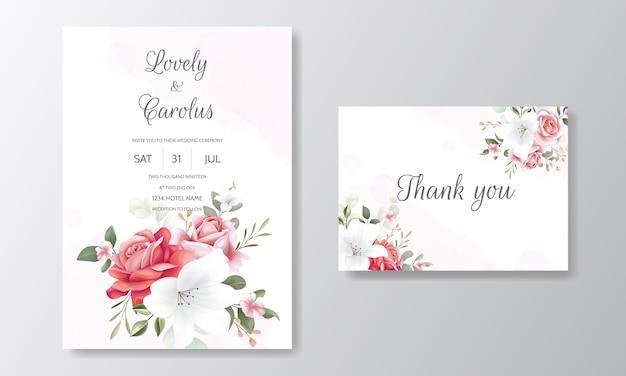 花飾り付きのエレガントな結婚式の招待カードテンプレートセット Premiumベクター