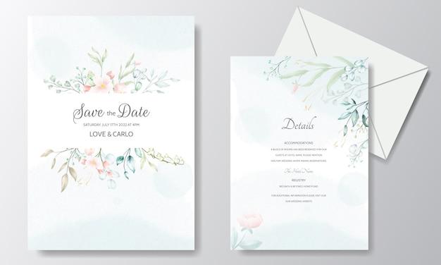 花と葉のフレームと水彩の結婚式の招待カードテンプレート Premiumベクター
