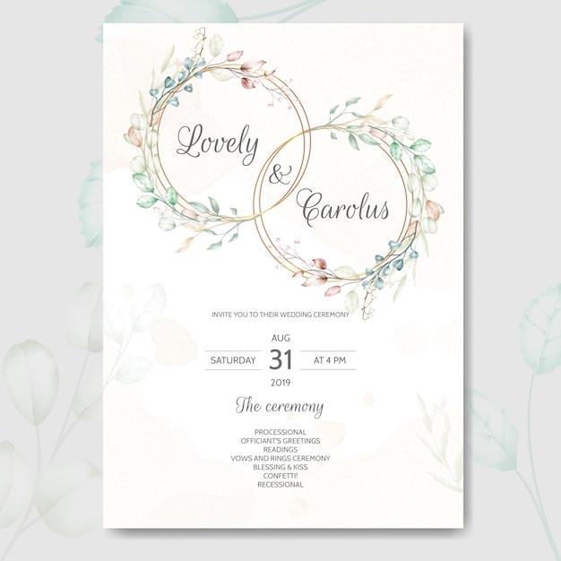 結婚式の招待カードは、美しい水彩花と葉を持つテンプレートを設定 Premiumベクター
