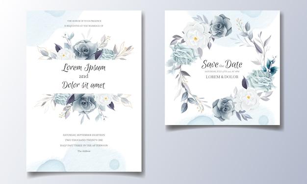 黄金の葉と水彩のネイビーブルーの花の結婚式の招待カードテンプレート Premiumベクター