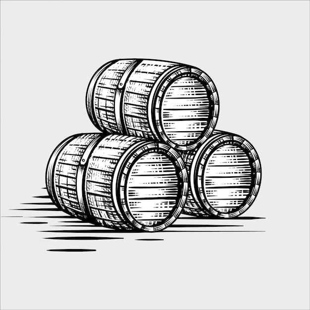木製の樽手描きの彫刻風イラスト Premiumベクター