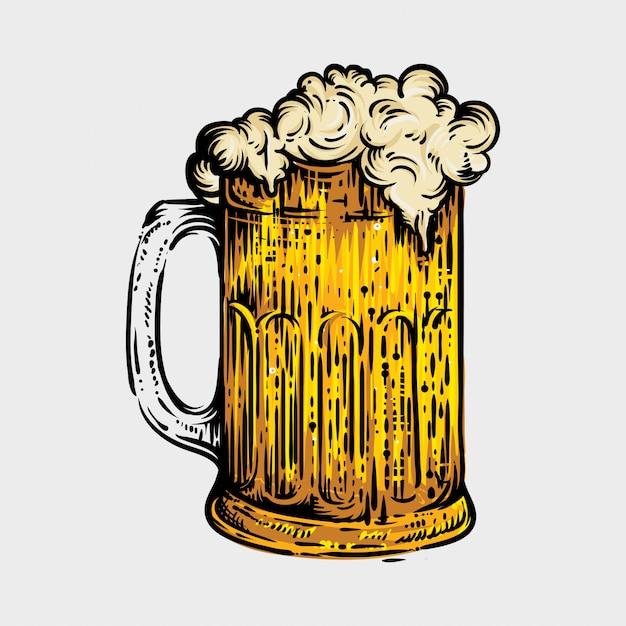 ビールグラス、古いスケッチで描かれた刻まれたスタイルの手 Premiumベクター