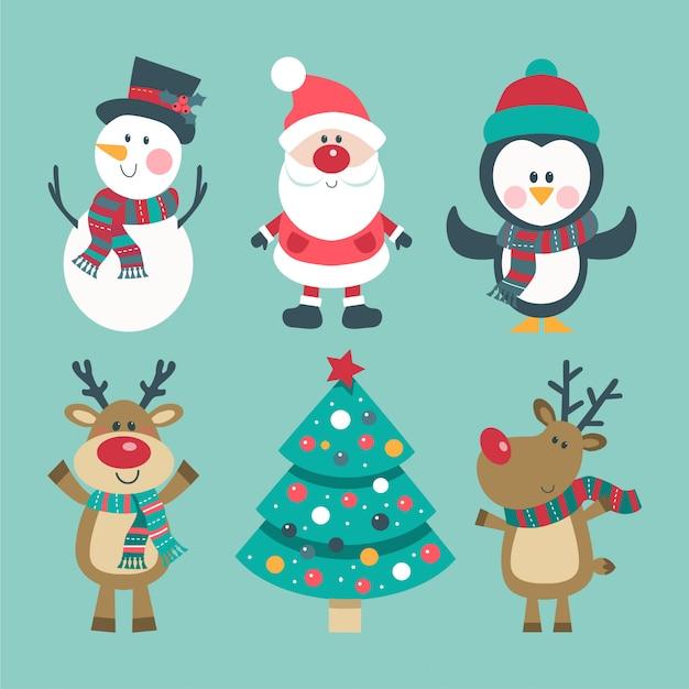 Рождественский набор с санта, олени, снеговик и пингвин. Premium векторы