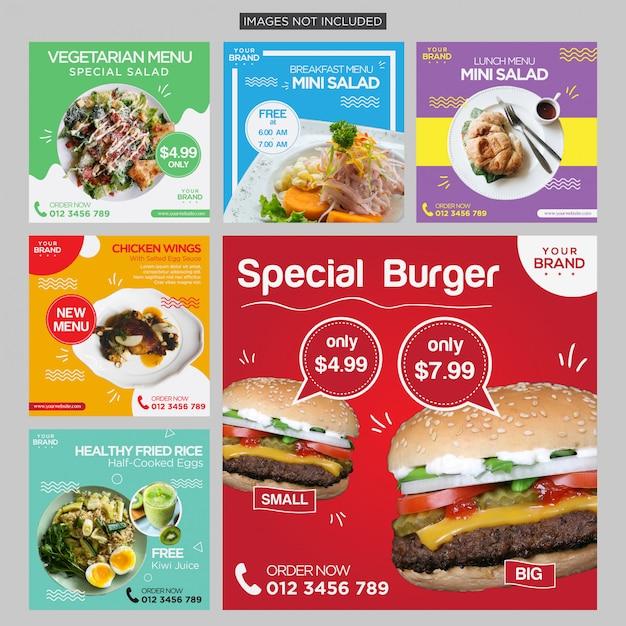 カラフルな食べ物ソーシャルメディアポストデザインテンプレートプレミアムベクトル Premiumベクター