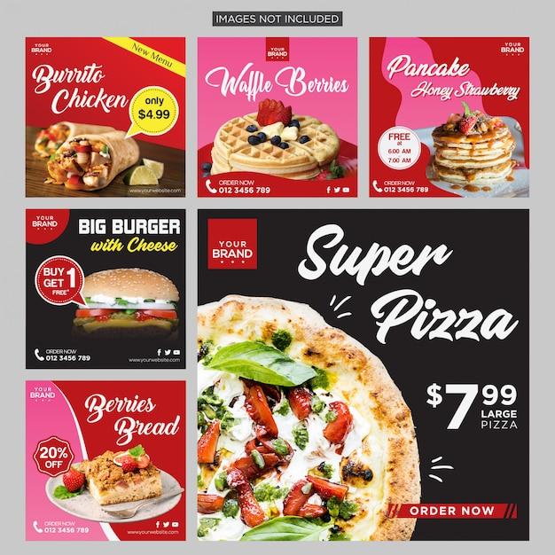 食品ソーシャルメディアポストデザインテンプレート Premiumベクター