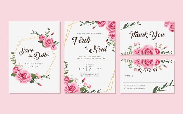結婚式の招待状 Premiumベクター