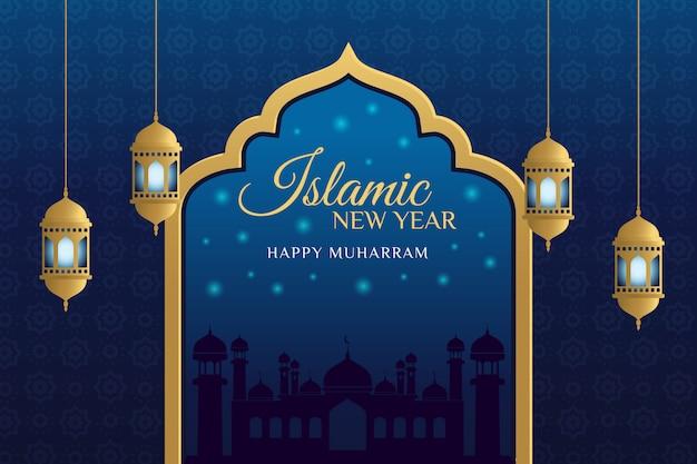 Элегантный дизайн исламский новогодний фон Premium векторы