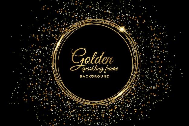豪華な金色の輝くフレームの背景 Premiumベクター