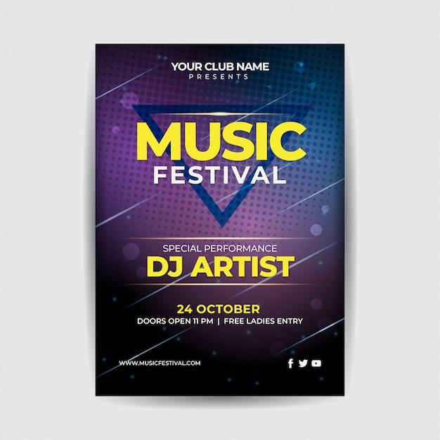 ミュージックナイトフェスティバルパーティーフライヤー Premiumベクター