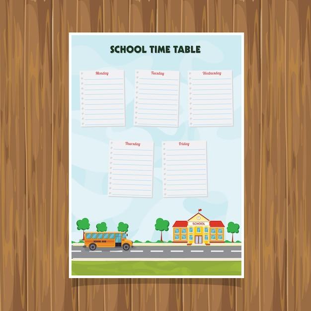 学校時間表に戻る Premiumベクター