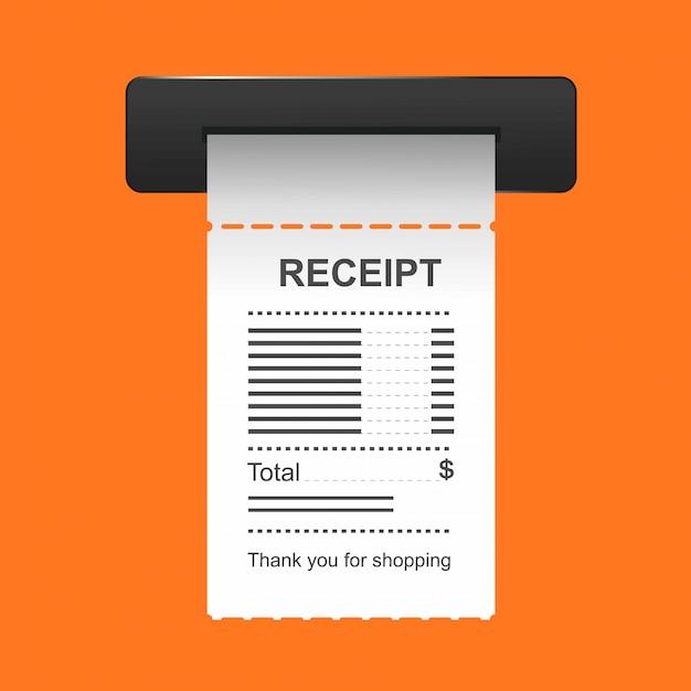 Значок квитанции в плоский стиль, изолированные на цветном фоне. Premium векторы