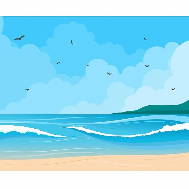 海の海岸と雲のイラストと海の風景 Premiumベクター