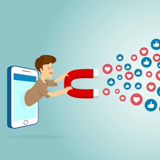 心と好きな人を引き付ける磁石を備えたモバイルスマートフォン。ソーシャルメディアマーケティングの概念。シンプルなフラットデザイン。ベクトルイラスト。 Premiumベクター