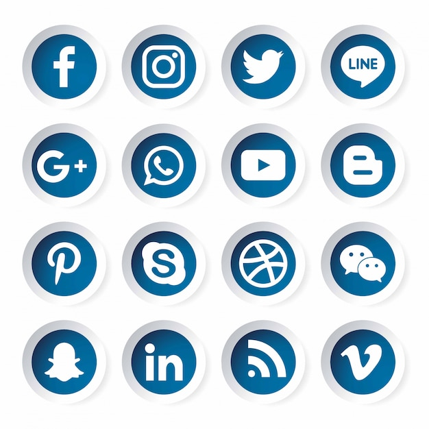 ソーシャルメディアアイコンテンプレート。 Premiumベクター