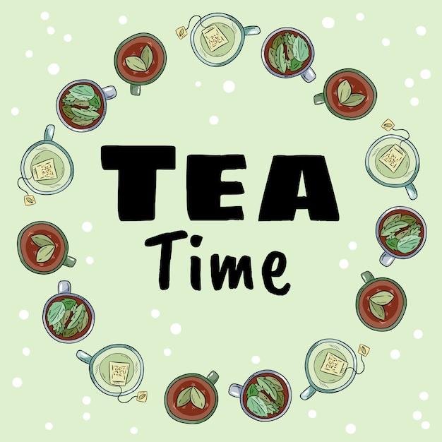 お茶の時間。緑茶とハーブティーのカップの装飾リース Premiumベクター